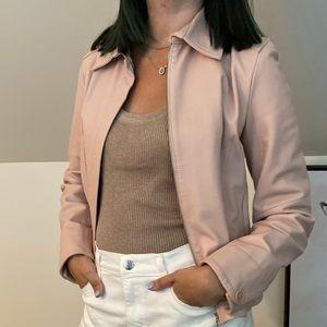 Blush Pink Mango Genuine Leather Jacket